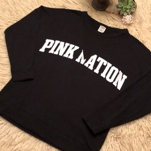 "LIKE NEW-VS ""Pink Nation""mesh detail sweatshirt"